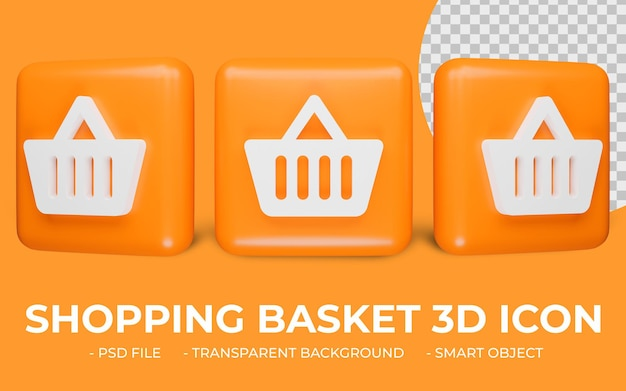 쇼핑 카트 또는 쇼핑 바구니 아이콘 3d 렌더링 절연