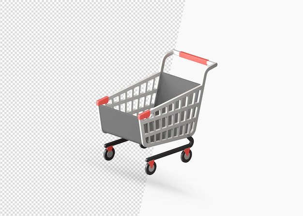 Shopping cart realistic decorative isolated 3d rendering