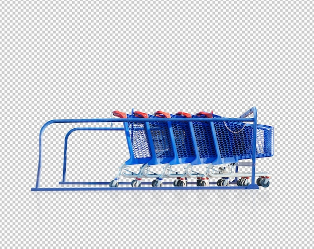 Shopping cart row isolated