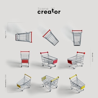 Shopping cart with wheels various angles for scene creator illustrations