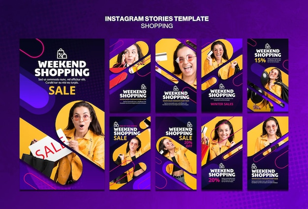 Shopping concept instagram stories template