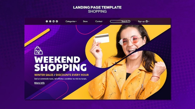 Shopping concept landing page template