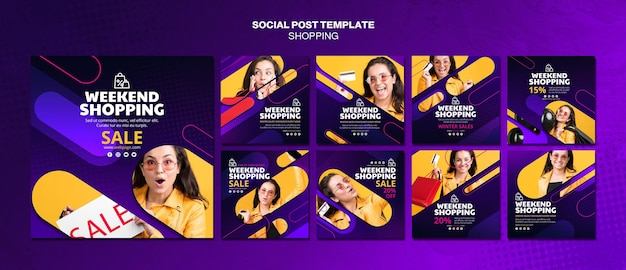 Shopping concept social media post template
