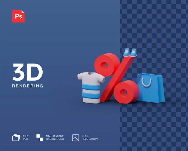 Shopping discount 3d illustration
