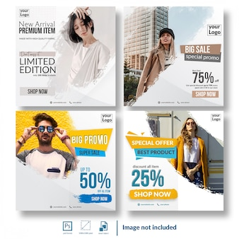 Shopping discount sale social media template bundle