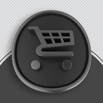 Shopping icon black 3d rendering