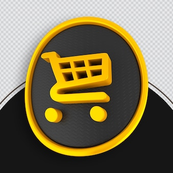 Shopping icon yallo 3d rendering