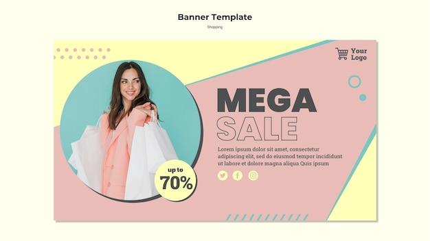 Modello di banner di vendita mega dello shopping