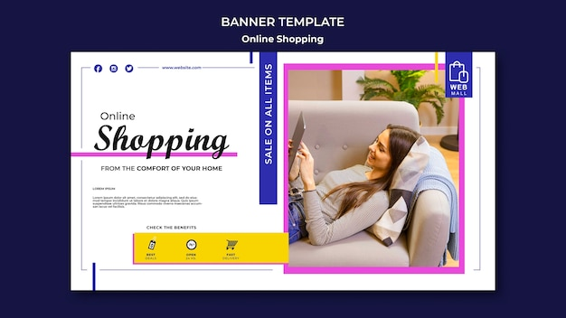 Shopping online concept banner template