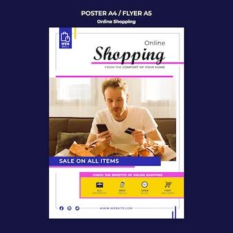 Modello di volantino dello shopping online concetto