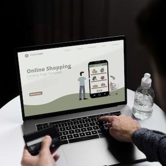 Shopping online on laptop