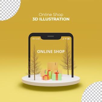 Покупки в интернете в мобильном приложении 3d-рендеринг концепция цифровой маркетинг