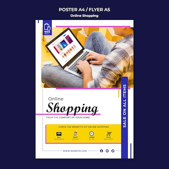 Shopping online poster concept template