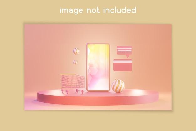 Shopping online on smartphone 3d illustration