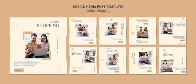 Shopping online social media post template