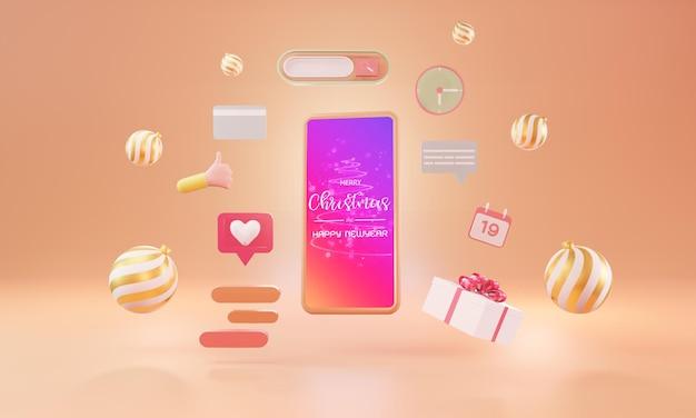 스마트폰으로 온라인 쇼핑. 마케팅 및 디지털 마케팅, 크리스마스 선물 상자, 공, 소셜 광고, 3d 일러스트