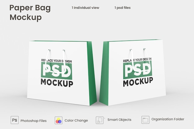 ショッピング紙袋psdモックアップデザイン