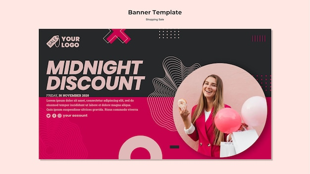 Shopping sale banner template with photo