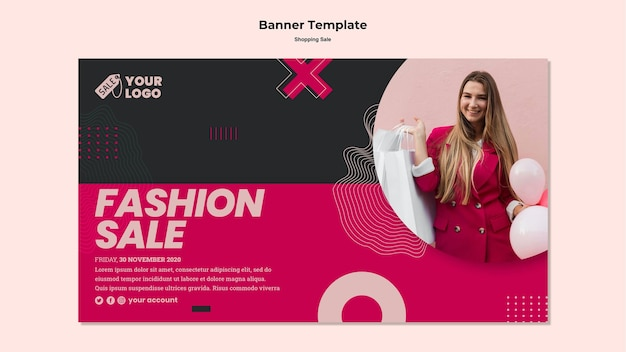 Shopping sale banner with photo