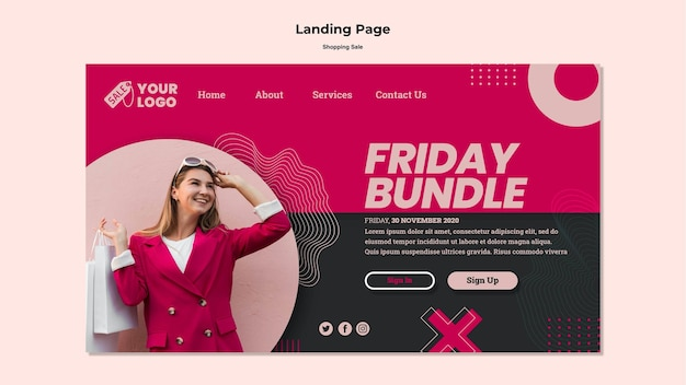 Shopping sale landing page template