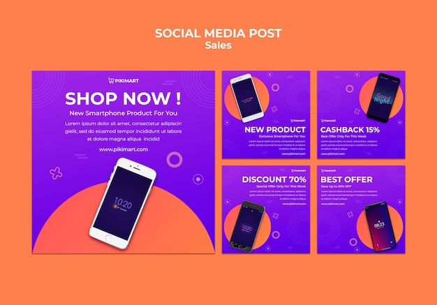 Shopping sale social media post template
