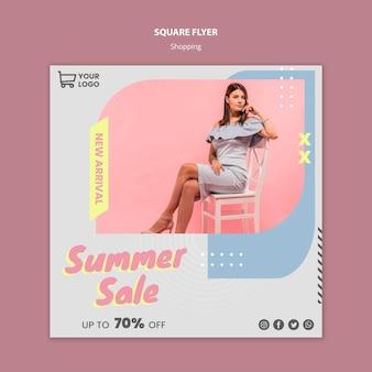 Modello di volantino quadrato di vendita commerciale