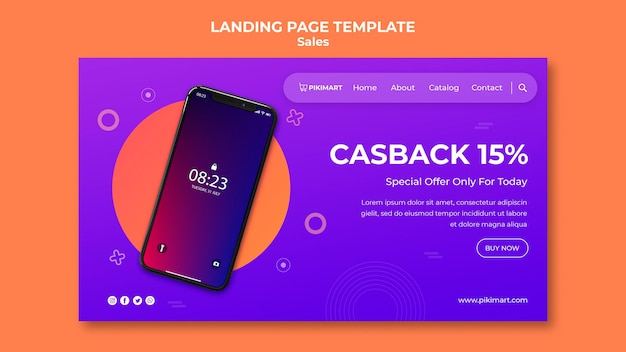 Shopping sale template landing page