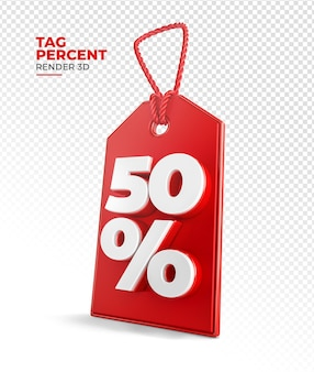 Shopping tag render 3d 50 percent