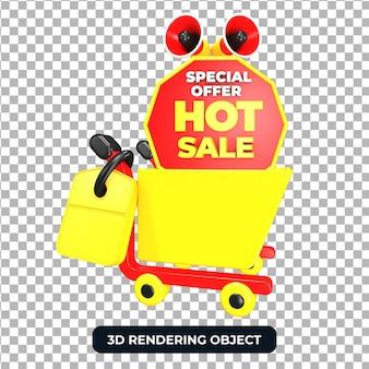 Торговая тележка и мегафон с горячим предложением продажи 3d визуализации изолированы