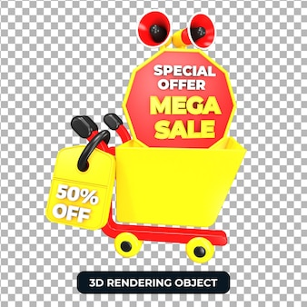 Тележка для покупок и мегафон с мега распродажей 50 от предложения 3d визуализации изолированы