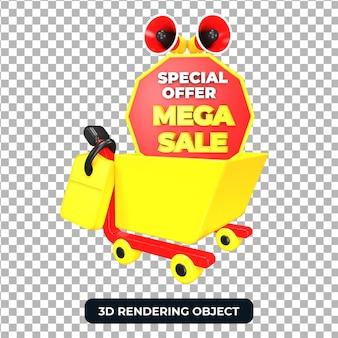 Тележка для покупок и мегафон с мега-распродажей, 3d визуализация изолированы