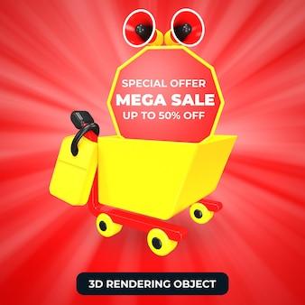 Тележка для покупок и мегафон с мега-распродажей, специальное предложение 50 с 3d-рендеринга изолированы