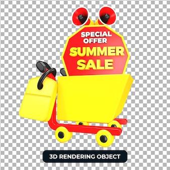 Тележка для покупок и мегафон с летним предложением распродажи 3d визуализации изолированы