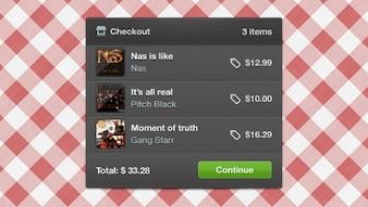 Shopping widget interface design