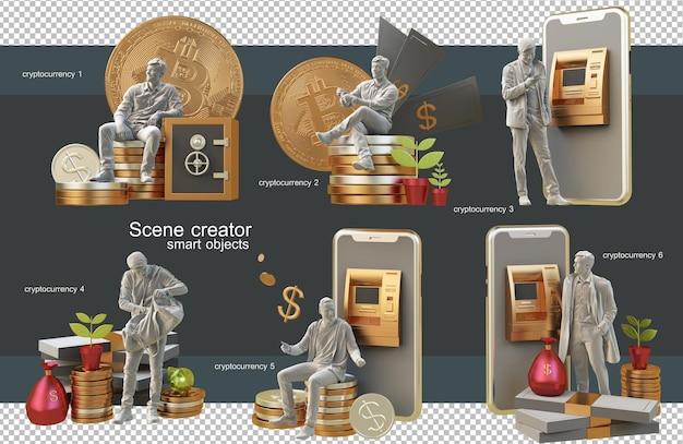 Cryptocurrencies 개념 3d 렌더링으로 쇼핑