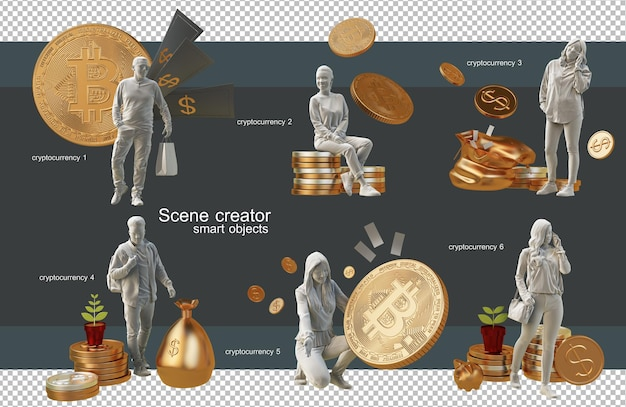 Shopping with cryptocurrencies concept 3d rendering