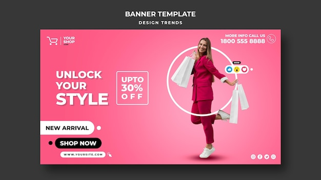Shopping woman banner template