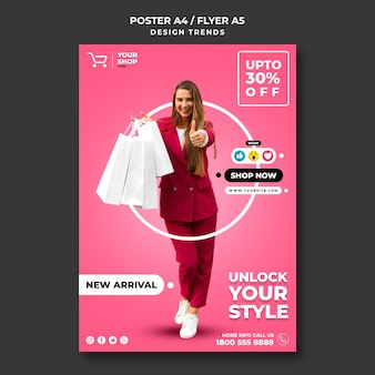 Шаблон плаката шоппинг женщина