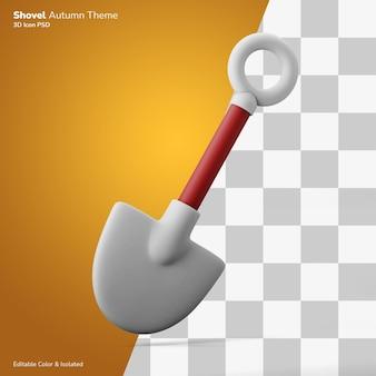 Shovel tool autumn 3d illustration rendering icon editable isolated