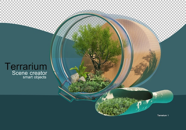 Show the results of the arrangement of trees and shrubs in a glass bottle