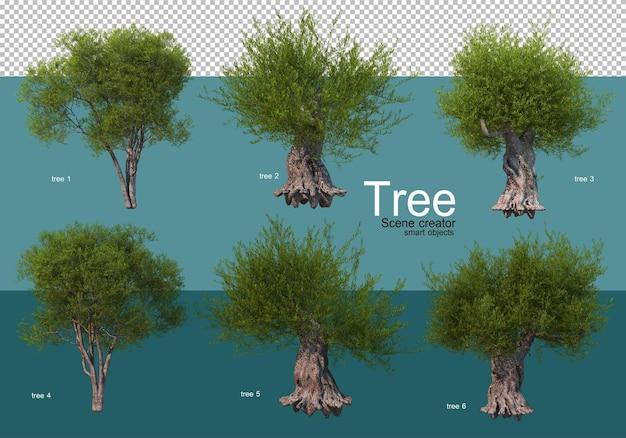さまざまなツリー配置の結果を表示する
