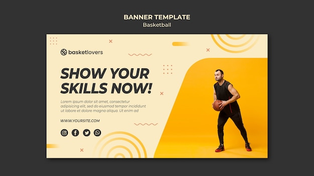 Show your skills basketball banner web template