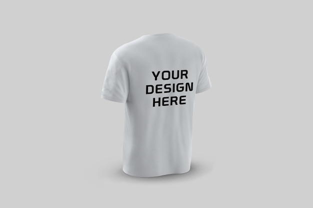 고립 된 t- 셔츠 모형 디자인의 뒷면 쇼케이스