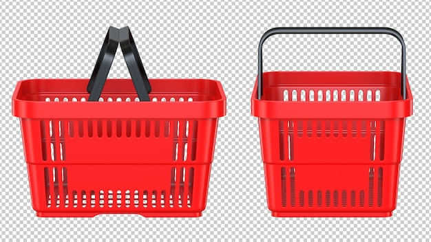 Side and front view of a red empty customer plastic shopping basket