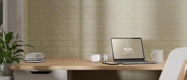Вид сбоку 3d-рендеринг домашнего офиса с компьютерным макетом