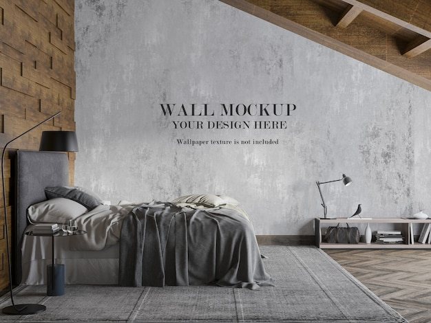 Side view attic bedroom wall mockup with accessories