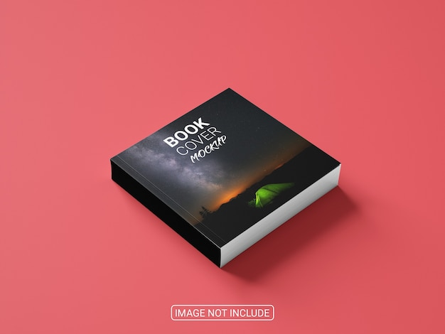 Side view book cover on red background mockup