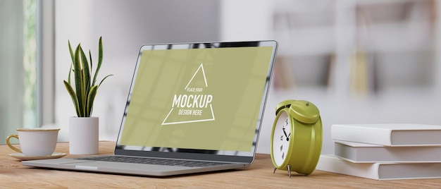 Side view close up home office with laptop screen mockup alarm clock on minimal wood table
