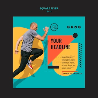 Side view fit man running square flyer template