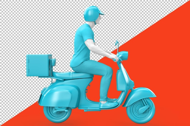 Side view of a man riding retro scooter